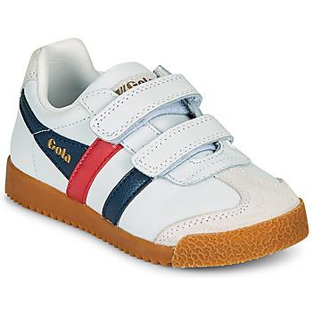 Schoenen Kinderen Lage sneakers Gola HARRIER LEATHER VELCRO Wit / Marine / Rood