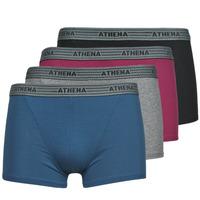 Ondergoed Heren Boxershorts Athena BASIC COTON  X4 Grijs / Bordeau / Blauw / Zwart