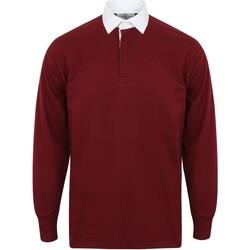 Textiel Heren Polo's lange mouwen Front Row FR100 Diep Bourgondië/Wit