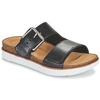 Schoenen Dames Leren slippers Clarks ELYANE EEASE Zwart