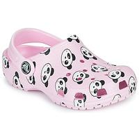 Schoenen Meisjes Klompen Crocs CLASSIC PANDA PRINT CLOG K Roze / Zwart/wit