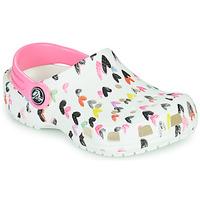 Schoenen Meisjes Klompen Crocs CLASSIC HEART PRINT CLOG K Wit / Hart
