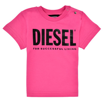Textiel Meisjes T-shirts korte mouwen Diesel TJUSTLOGOB Roze