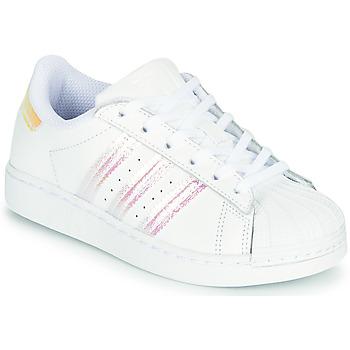 Schoenen Meisjes Lage sneakers adidas Originals SUPERSTAR C Wit / Regenboog