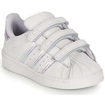 Schoenen Meisjes Lage sneakers adidas Originals SUPERSTAR CF I Wit / Regenboog