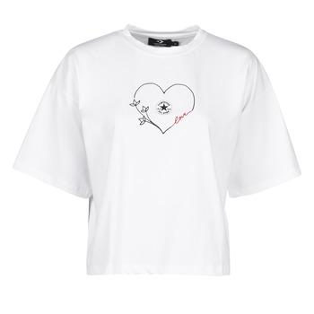 Textiel Dames T-shirts korte mouwen Converse CHUCK WOMENS LOVE BOXY TEE Wit