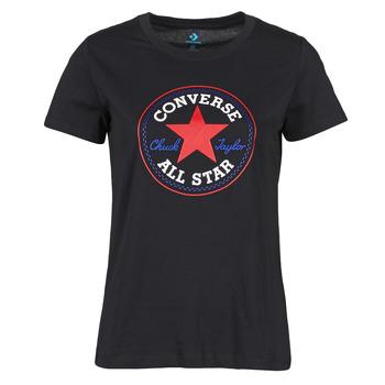 Textiel Dames T-shirts korte mouwen Converse CHUCK PATCH NOVA TEE Zwart