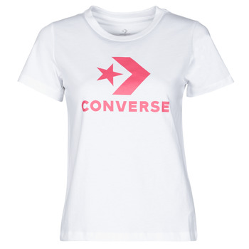 Textiel Dames T-shirts korte mouwen Converse STAR CHEVRON CENTER FRONT TEE Wit