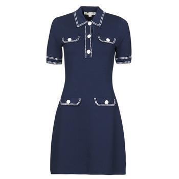 Textiel Dames Korte jurken MICHAEL Michael Kors CONTRAST STITCH BUTTON DRESS Marine