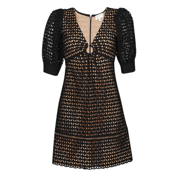 Textiel Dames Korte jurken MICHAEL Michael Kors GEO EYELET MINI DRESS Zwart