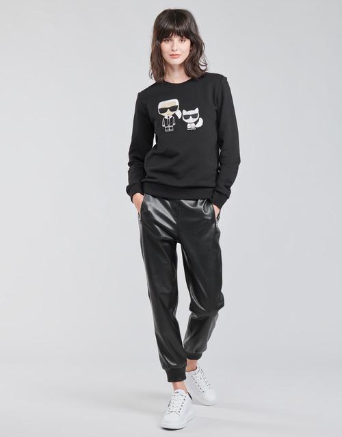 Textiel Dames 5 zakken broeken Karl Lagerfeld FAUXLEATHERJOGGERS Zwart