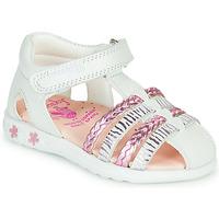Schoenen Meisjes Sandalen / Open schoenen Pablosky ELLA Wit / Roze