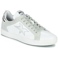 Schoenen Dames Lage sneakers Meline KUC256 Wit / Zilver / Zebra