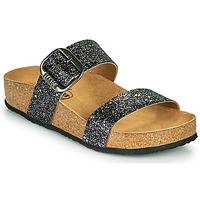Schoenen Dames Leren slippers Plakton ROCK Zwart / Pailletten