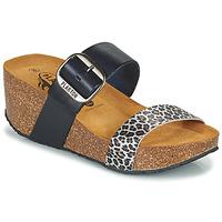 Schoenen Dames Leren slippers Plakton SO ROCK Blauw / Luipaard