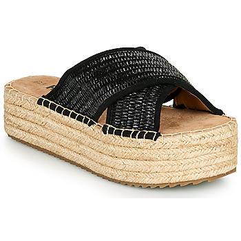 Schoenen Dames Leren slippers Refresh TERRA Zwart