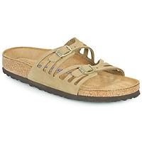 Schoenen Dames Leren slippers Birkenstock GRANADA SFB Kaki
