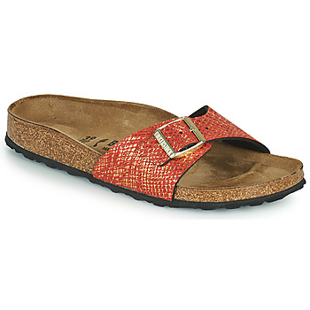 Schoenen Dames Leren slippers Birkenstock MADRID Rood / Goud