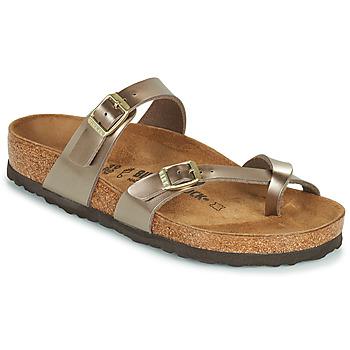 Schoenen Dames Leren slippers Birkenstock MAYARI Goud