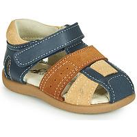 Schoenen Jongens Sandalen / Open schoenen Citrouille et Compagnie OLOSS Blauw / Bruin