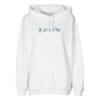 Textiel Dames Sweaters / Sweatshirts Levi's GRAPHIC RIDER HOODIE Rider / Regenboog / Logo / Wit