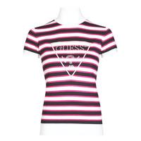 Textiel Dames T-shirts korte mouwen Guess GERALDE TURTLE NECK Zwart / Wit