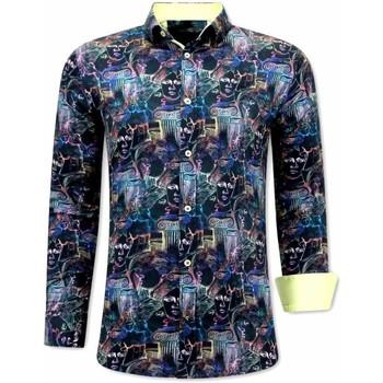 Textiel Heren Overhemden lange mouwen Tony Backer Luxe Bijzondere Zwart, Geel