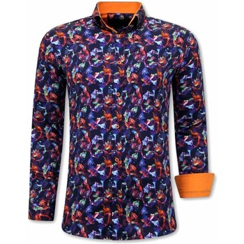 Textiel Heren Overhemden lange mouwen Tony Backer Luxe Oranje Blauw, Oranje