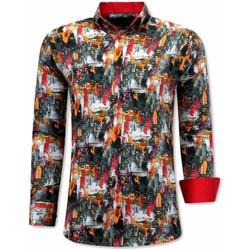 Textiel Heren Overhemden lange mouwen Tony Backer Luxe Oranje Zwart, Oranje
