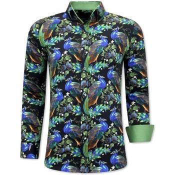 Textiel Heren Overhemden lange mouwen Tony Backer Luxe Strijkvrije Zwart, Groen