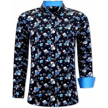 Textiel Heren Overhemden lange mouwen Tony Backer  Zwart, Blauw