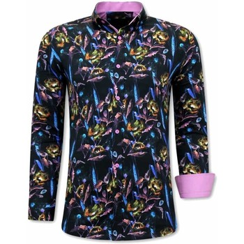 Textiel Heren Overhemden lange mouwen Tony Backer Luxe Kleurrijke Zwart, Roze