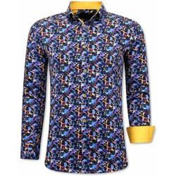 Textiel Heren Overhemden lange mouwen Tony Backer Luxe Kleurrijke Blouse Blauw, Geel