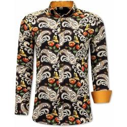 Textiel Heren Overhemden lange mouwen Tony Backer Luxe Paisley Zwart, Bruin