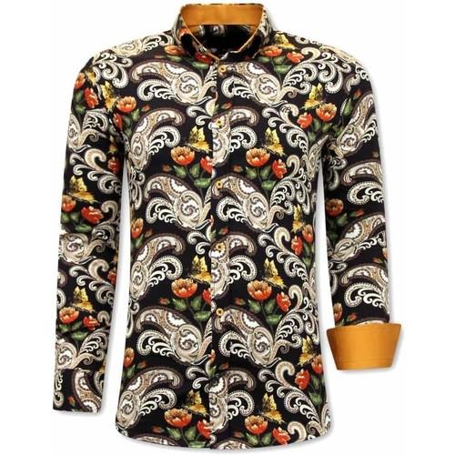 Textiel Heren Overhemden lange mouwen Tony Backer Luxe Paisley 3073 Zwart, Bruin