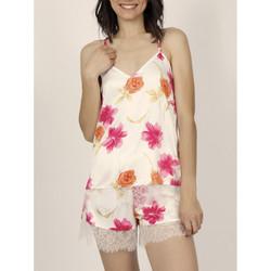 Textiel Dames Pyjama's / nachthemden Admas Pyjama shorts tank top Thai Flowerss Ivooranjekleurig