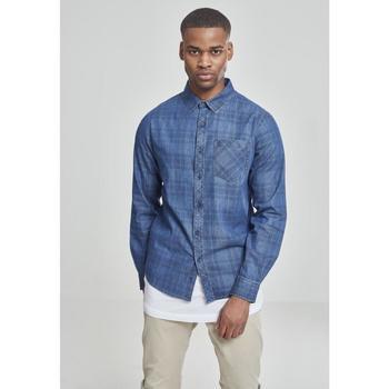Textiel Heren Overhemden lange mouwen Urban Classics Chemise Urban Classic printed denim bleu foncé