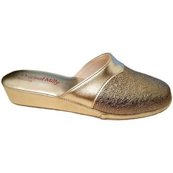 Schoenen Dames Leren slippers Milly MILLY4200oro grigio