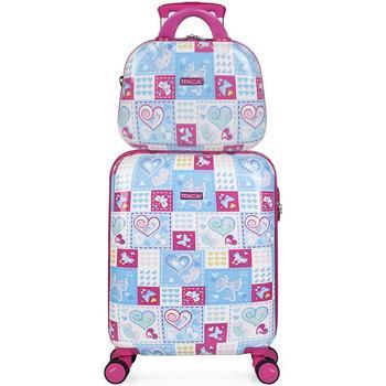 Tassen Meisjes Valise Rigide Itaca ARAS Cabine koffer plus behoefte meisje Blauw-Fuchsia