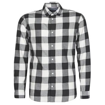 Textiel Heren Overhemden lange mouwen Jack & Jones JJEGINGHAM Wit / Zwart