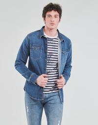 Textiel Heren Overhemden lange mouwen Yurban OPUCI Blauw / Medium