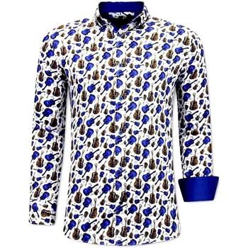 Textiel Heren Overhemden lange mouwen Tony Backer Luxe Gitaar Print Wit, Blauw