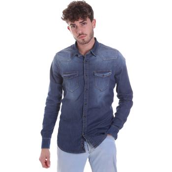 Textiel Heren Overhemden lange mouwen Gaudi 021GU46001 Blauw