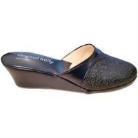 Schoenen Dames Leren slippers Milly MILLY4000blu blu