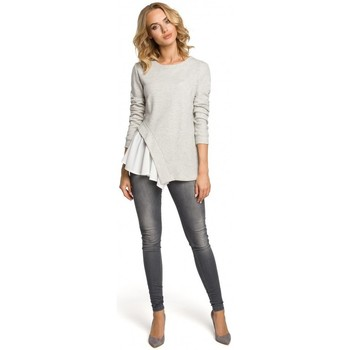 Textiel Dames Tops / Blousjes Moe M333 Asymmetrische gelaagde blouse - lichtgrijs