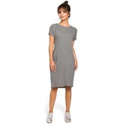 Textiel Dames Jurken Be B050 Midi-jurk met in de naad geplaatste zakken - grijs