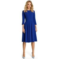 Textiel Dames Korte jurken Moe M335 Jurk met plooi aan de voorzijde - koningsblauw