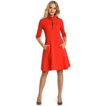 Textiel Dames Korte jurken Moe M349 Fleurige jurk met ritskraag - rood