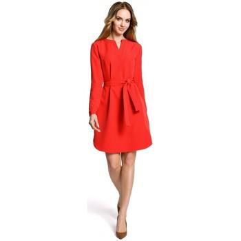 Textiel Dames Korte jurken Moe M361 Overhemdjurk met aangeknoopte riem - rood