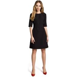 Textiel Dames Korte jurken Moe M362 Eenvoudige a-lijn jurk met riem - zwart